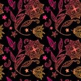 Fundo floral preto com ornamento indiano Ilustração Royalty Free