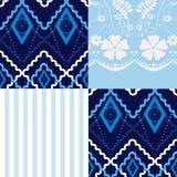 Fundo floral retro do teste padrão da textura de matéria têxtil dos retalhos Fotografia de Stock Royalty Free