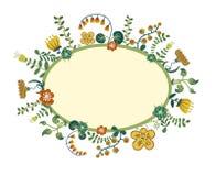 Fundo floral retro do vetor, quadro Fotografia de Stock