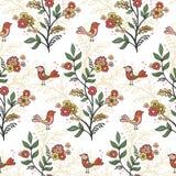 Fundo floral romântico retro com flores e pássaros Fotografia de Stock Royalty Free