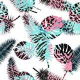 Fundo floral sem emenda bonito do teste padrão do verão com folhas de palmeira e as cópias tropicais do animal Aperfeiçoe para pa Foto de Stock