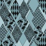 Fundo floral sem emenda do azul da textura do teste padrão dos retalhos Foto de Stock