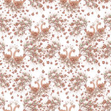 Fundo floral sem emenda do teste padrão, pássaros fabulosos, ilustração de matéria têxtil do papel de parede do ornamento no back ilustração do vetor