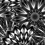 Fundo floral sem emenda Teste padrão feito a mão do contexto da natureza do Tracery com flores Arte binária decorativa Vetor ilustração stock
