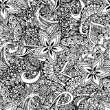 Fundo floral sem emenda Teste padrão étnico do projeto da garatuja Abstra Imagem de Stock