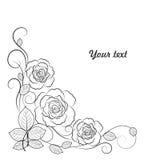 Fundo floral simples em preto e branco com Imagens de Stock Royalty Free