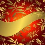 Fundo floral vermelho com bandeira da onda ilustração stock