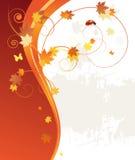 Fundo, folhas e joaninha do teste padrão do outono Imagem de Stock