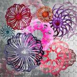 Fundo Funky do projeto floral do estilo Fotos de Stock Royalty Free