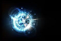 Fundo futurista abstrato da tecnologia com conceito do pulso de disparo e máquina do tempo, vetor ilustração do vetor