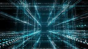 Fundo futurista abstrato da tecnologia da informação do código binário com grade ilustração do vetor