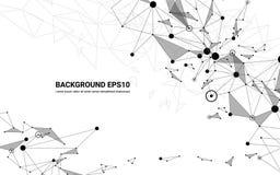 Fundo futurista abstrato do branco da linha e do polígono da molécula Conceito da tecnologia digital de conexão de rede ilustração do vetor