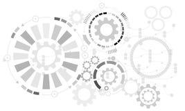 Fundo futurista abstrato Vector a roda de engrenagem da ilustração, os hexágonos e a placa de circuito, ilustração stock