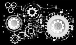Fundo futurista abstrato Vector a roda de engrenagem da ilustração, os hexágonos e a placa de circuito, ilustração royalty free