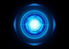 Fundo futurista azul da tecnologia do círculo abstrato Illustra Imagens de Stock Royalty Free