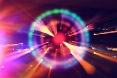 fundo futurista da ficção científica abstrata Alargamento da lente imagem do conceito do curso do espaço ou do tempo sobre luzes  imagem de stock royalty free