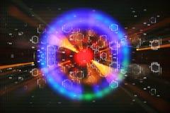 fundo futurista da ficção científica abstrata Alargamento da lente imagem do conceito do curso do espaço ou do tempo sobre luzes  ilustração royalty free