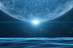Fundo futurista da ilustração do Cyberspace da rede fotografia de stock royalty free