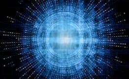 Fundo futurista da tecnologia de sistema digital do sumário, relação de HUD do código binário da matriz no fundo do ilustração royalty free