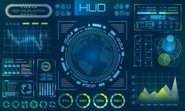 Fundo futurista de HUD Infographic ou relação da tecnologia para o visualização da informação ilustração do vetor