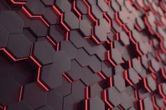 Fundo futurista de incandescência vermelho do hexágono rendição 3d Fotografia de Stock