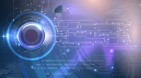 Fundo futurista do olho abstrato do cyber Fotos de Stock