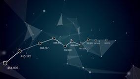 Fundo futurista do sumário da tecnologia Plexo bonito com números, gráfico e curva Animação do laço Negócios ilustração royalty free