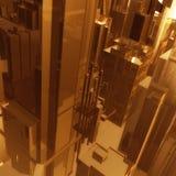 Fundo futurista dos edifícios da cidade do ouro Fotografia de Stock Royalty Free
