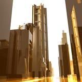 Fundo futurista dos edifícios da cidade do ouro Imagem de Stock