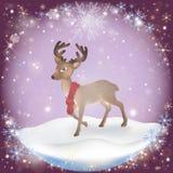 Fundo gelado da neve do inverno com um cervo do Natal ilustração royalty free