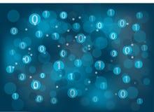 Fundo genérico da tecnologia da informação (a TI) com zero e uns que flutuam ao redor a Foto de Stock