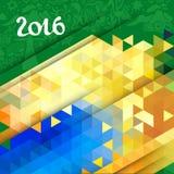 Fundo geométrico abstrato do vetor na cor de Brasil Imagens de Stock