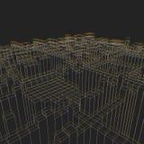 Fundo geométrico abstrato - ilustração 3d Wireframe perspective ilustração stock