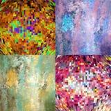 Fundo geométrico abstrato multicolorido 4 em 1 Imagens de Stock Royalty Free