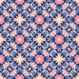Fundo geométrico abstrato - teste padrão sem emenda do vetor nas cores violetas, cor-de-rosa, lilás e azuis Estilo étnico do boho ilustração do vetor