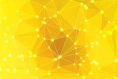 Fundo geométrico amarelo dourado brilhante com malha e luzes ilustração do vetor