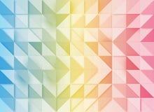 Fundo geométrico azul, amarelo e cor-de-rosa com efeito do mosaico ilustração stock