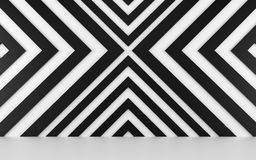 Fundo geométrico branco e preto abstrato 3d rendem Imagem de Stock Royalty Free