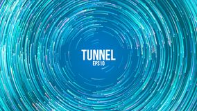 Fundo geométrico circular do vetor Linhas coloridas redondas de Blue Circle Fuga abstrata do redemoinho Tampa lisa do redemoinho ilustração do vetor