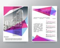 Fundo geométrico cor-de-rosa e roxo abstrato para o molde da disposição de projeto do inseto do folheto do cartaz no tamanho A4 ilustração royalty free