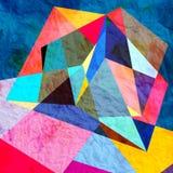Fundo geométrico da aquarela abstrata fotografia de stock