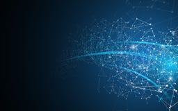 Fundo geométrico do fi do sci da tecnologia do projeto da dimensão da perspectiva do movimento do polígono abstrato ilustração stock