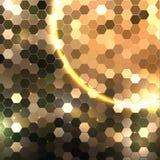 Fundo geométrico do Natal dourado com luzes Fotos de Stock Royalty Free