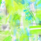Fundo geométrico espirrado aquarela da mola abstrata Fundo da mola em cores verdes e azuis da luz - com mão Imagem de Stock