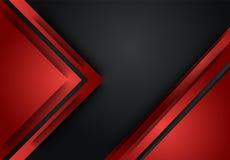 Fundo geométrico para o cartão, ann da camada abstrata vermelha e preta ilustração royalty free