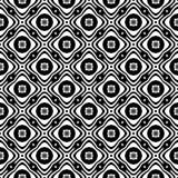 Fundo geométrico repetido sem emenda preto e branco do teste padrão da flor decorativa Matéria têxtil, livros, imagem de stock