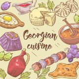 Fundo Georgian tirado mão do alimento Georgia Traditional Cuisine com bolinha de massa e Khinkali ilustração royalty free