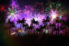 Fundo gerado Digital da palmeira com fogos-de-artifício ilustração do vetor