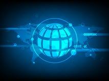 Fundo global abstrato da tecnologia digital do círculo do mapa do mundo, fundo futurista do conceito dos elementos da estrutura ilustração stock