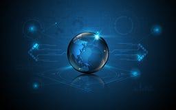 Fundo global abstrato do conceito da inovação da tecnologia do teste padrão do banwidth do tráfego dos trabalhos em rede Imagem de Stock